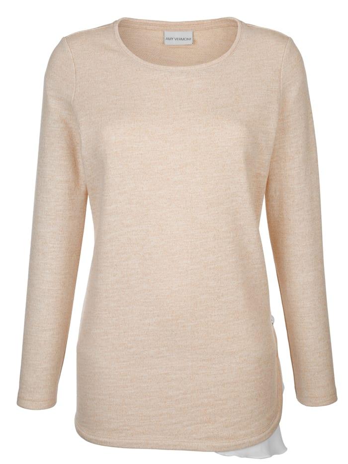 AMY VERMONT Shirt mit metallisiertem Garn, Off-white/Beige