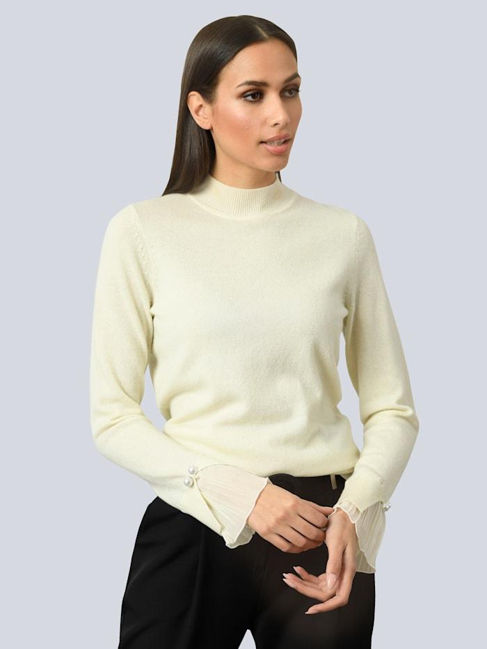 Alba Moda Pullover mit Plisseé-Einsatz am Arm, Off-white