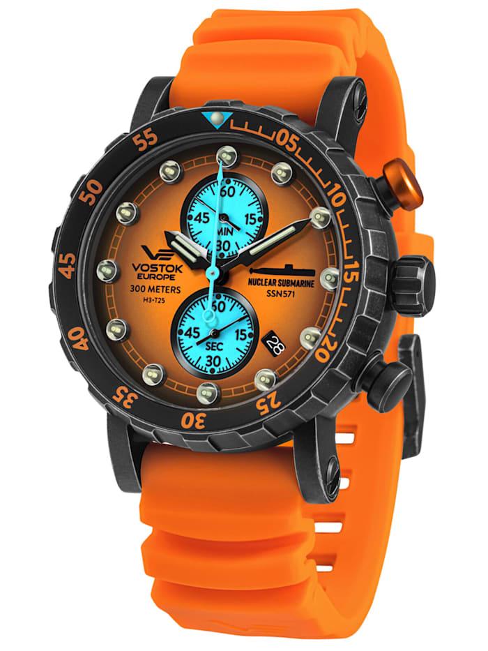 Vostok Europe Herrenuhr Chronograph SSN-571 Nuclear Submarine Orange, Orange
