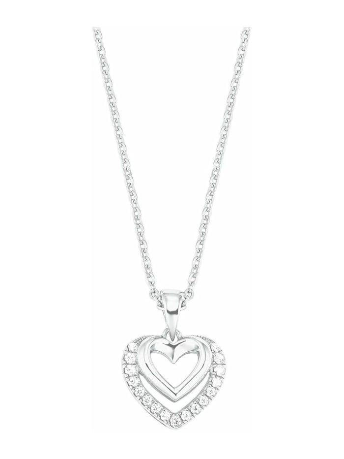amor Kette mit Anhänger für Damen mit Herz-Anhänger, glänzendes Silber 925, Zirkonia, Silber