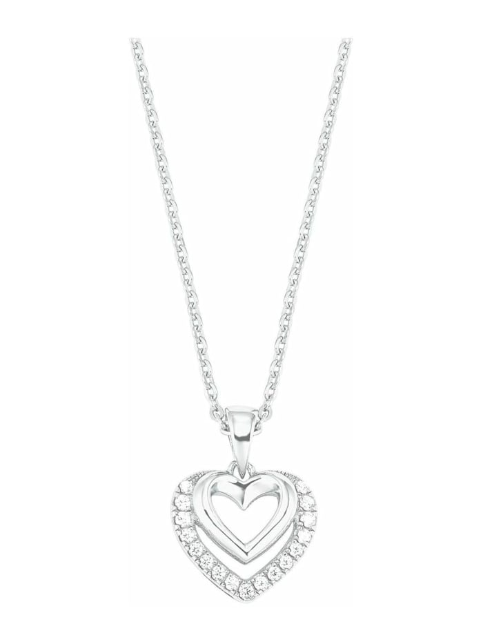 amor Kette mit Anhänger für Damen, Sterling Silber 925, Zirkonia Herz, Silber