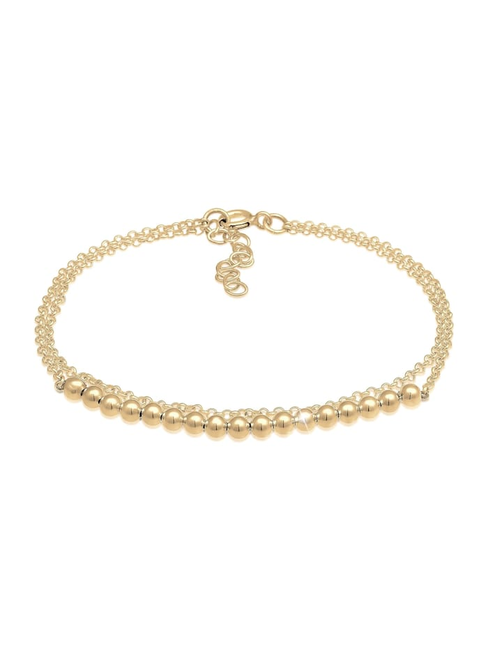Elli Armband Basic Layer Kettchen Kugeln Geo Design 925 Silber, Gold