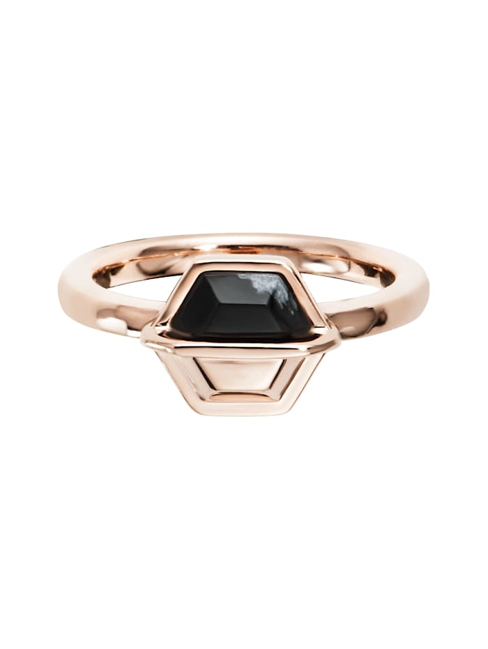 CAI Ring 925/- Sterling Silber Obsidian schwarz Glänzend, rot