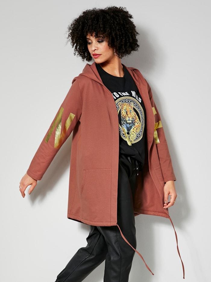 Angel of Style Sweatshirtjacka med tryckt mönster på ärmar och bakstycke, Hasselnötsbrun