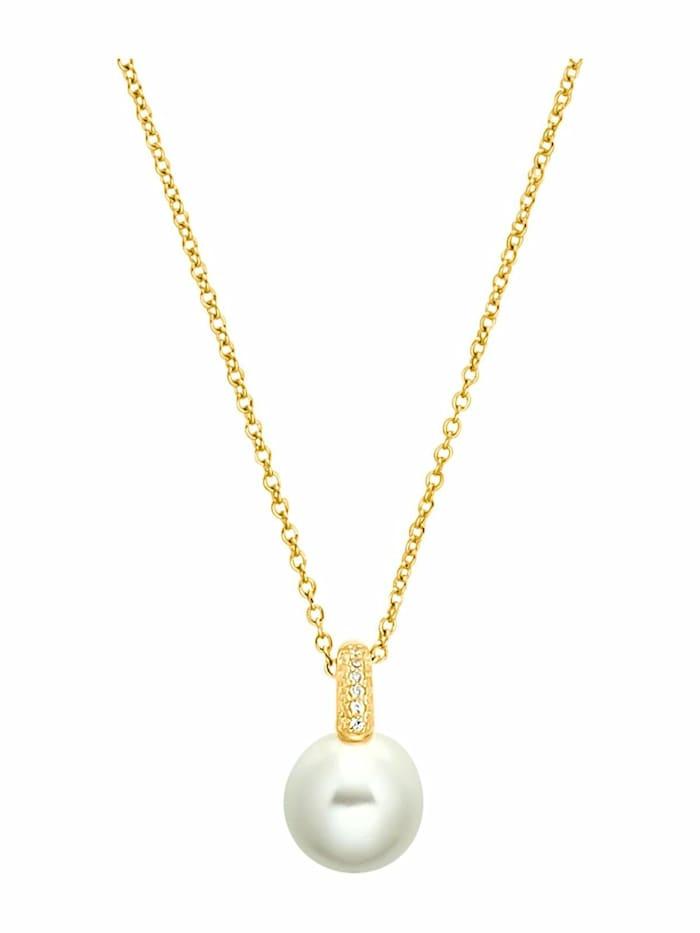 s.Oliver Halskette für Damen, Sterling Silber 925, Zirkonia Muschelkernperle, Gold