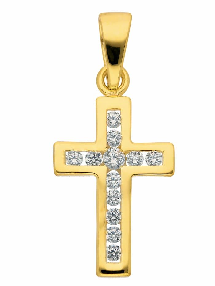 1001 Diamonds Damen & Herren Goldschmuck 375 Gold Kreuz Anhänger mit Zirkonia, gold