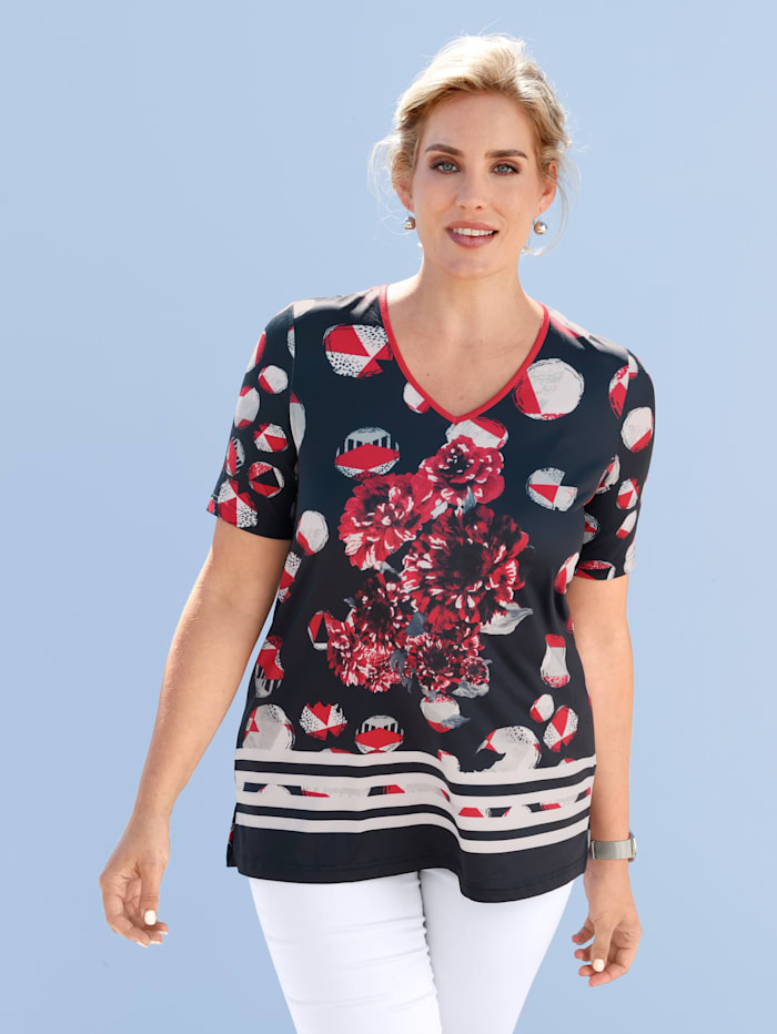 m. collection Shirt met modieus dessin, Marine/Rood/Wit