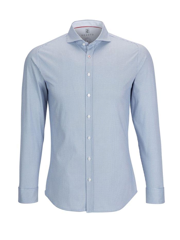 Desoto Jerseyhemd - Bügelfrei, dark blue houndstooth