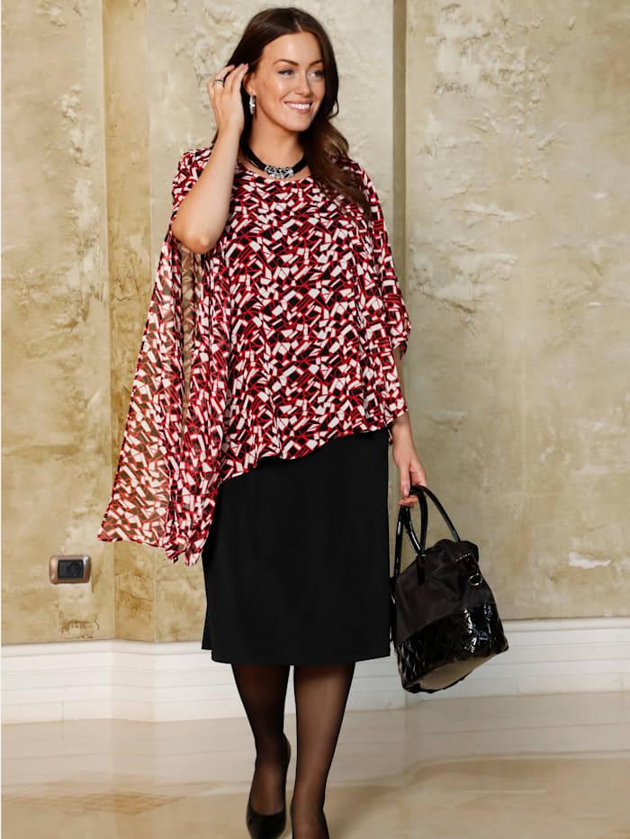 m. collection Kleid mit bedrucktem Chiffonüberwurf, Schwarz/Rot
