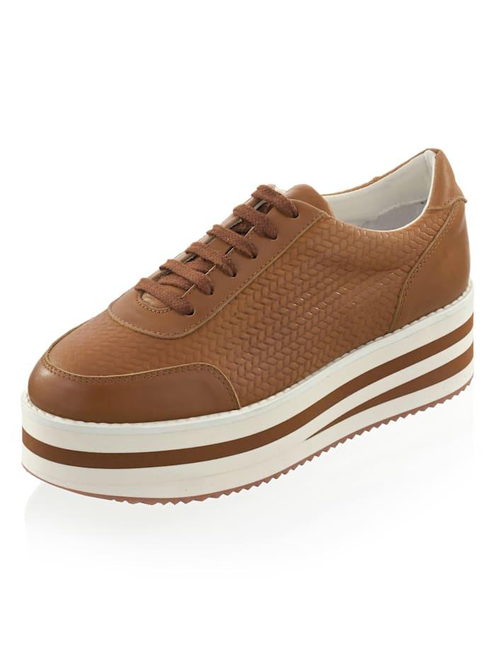 Alba Moda Sneaker in gevlochten look, Cognac