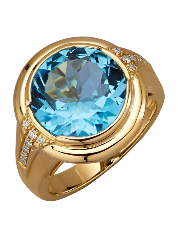 Amara Pierres colorées Bague en or jaune 585, Bleu