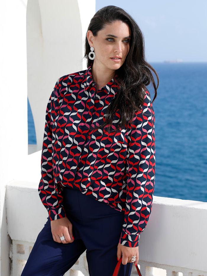 MIAMODA Bluse mit verdeckter Knopfleiste, Marineblau/Rot/Weiß