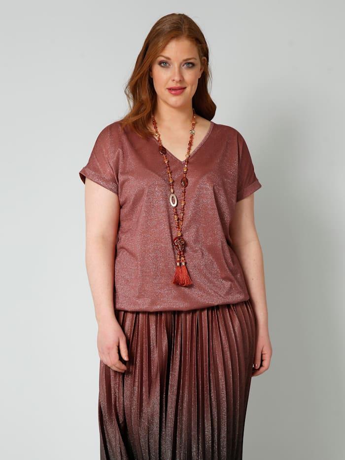 Sara Lindholm Shirt mit gesmoktem, elastischem Bündchen am Saum, Haselnuss