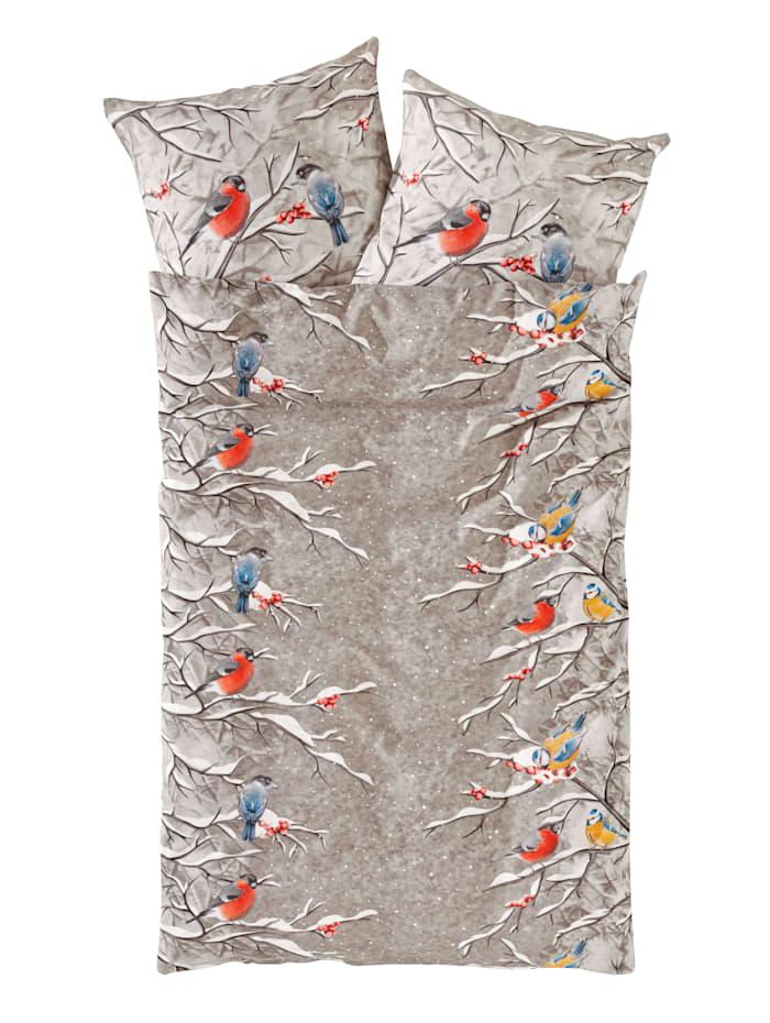 Webschatz 2-delige set bedlinnen Wintervogels, ecru