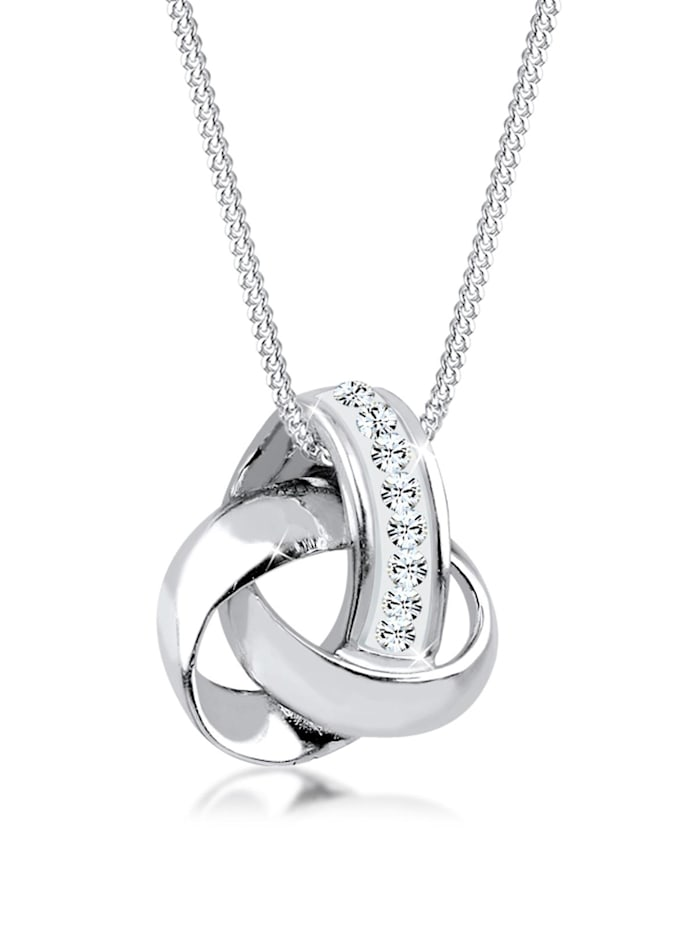 Elli Halskette Knoten Kristalle 925 Sterling Silber, Silber