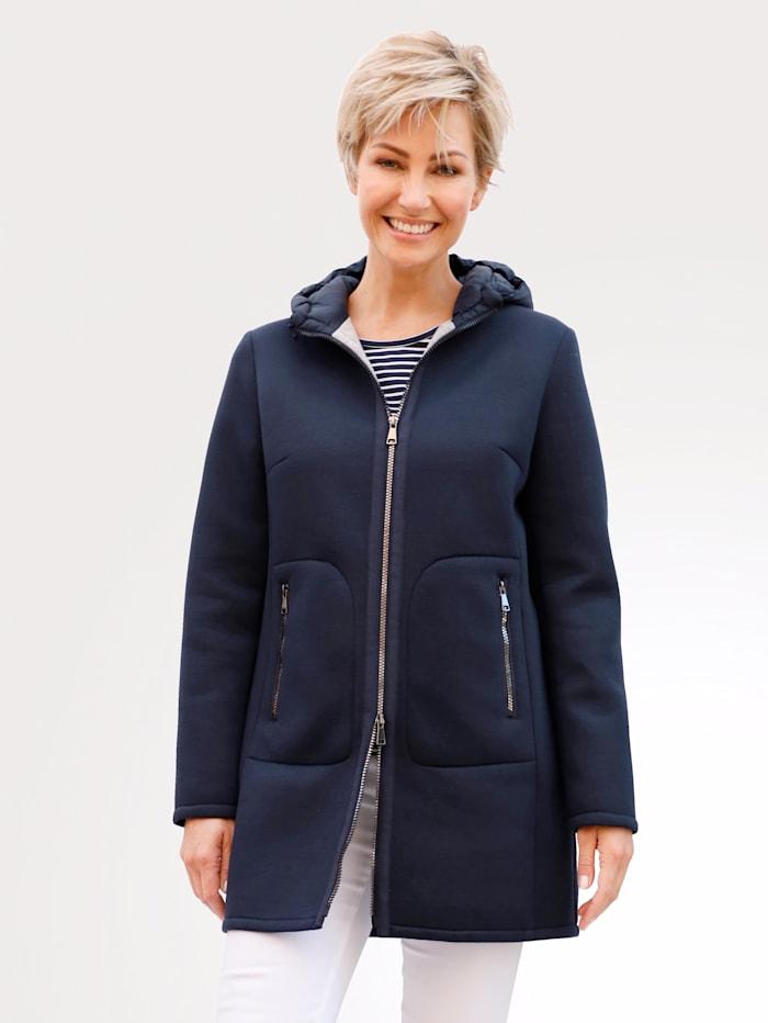 MONA Jacket in a soft scuba fabric, Navy