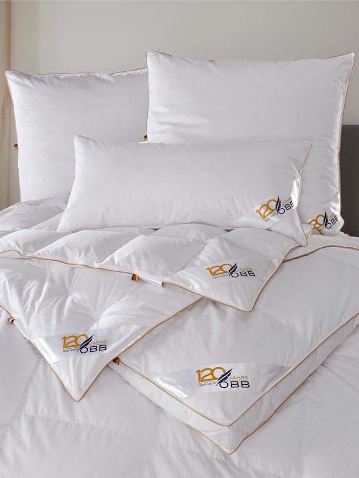 Daunen Bettenprogramm mit goldener Satin-Biese