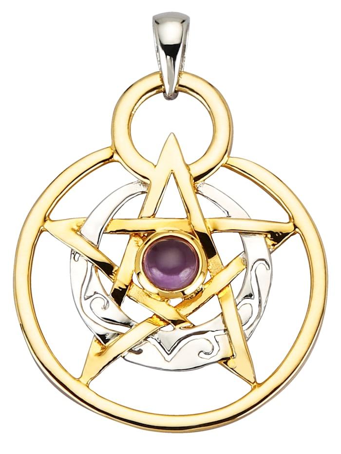 Pentagramm-Anhänger, Silberfarben/Gelbgoldfarben