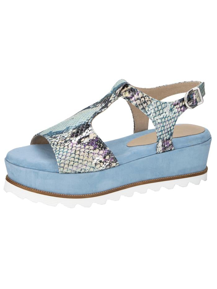 Sandaler i läckert ormskinnsmönster, Ljusblå