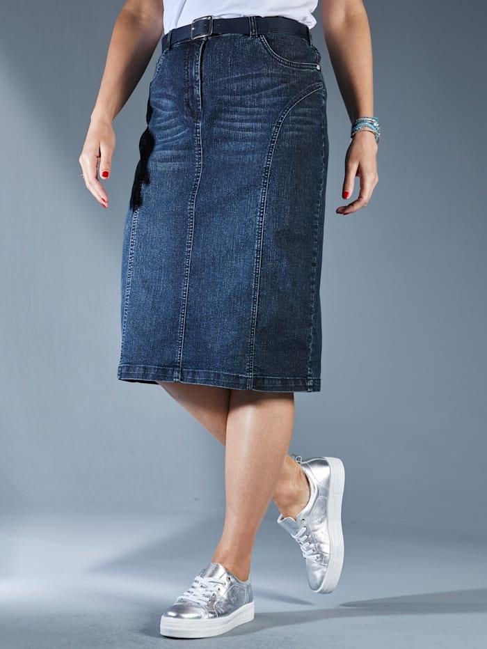 MIAMODA Spijkerrok met loopsplit achter, Dark blue