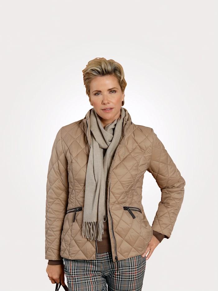 MONA Gewatteerde jas met ingewerkte capuchon, Beige