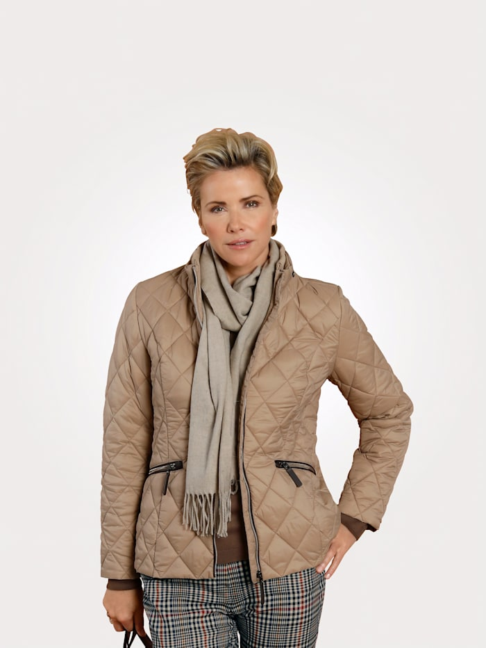 MONA Quilted jacket with a concealed hood, Beige