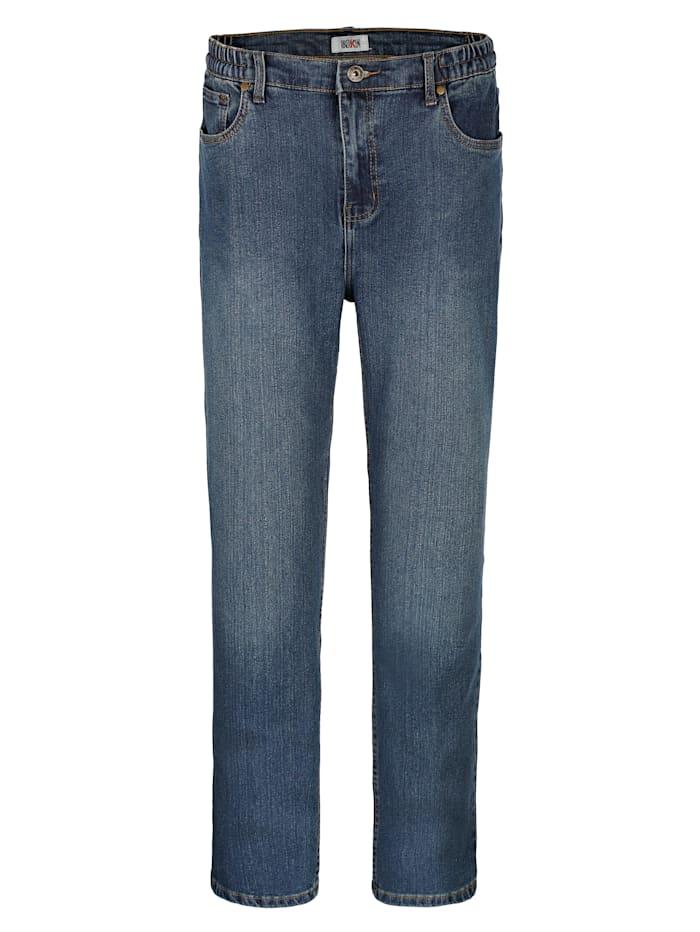 Roger Kent 5-Pocket Jeans mit seitlichem Dehnbund, Blue stone