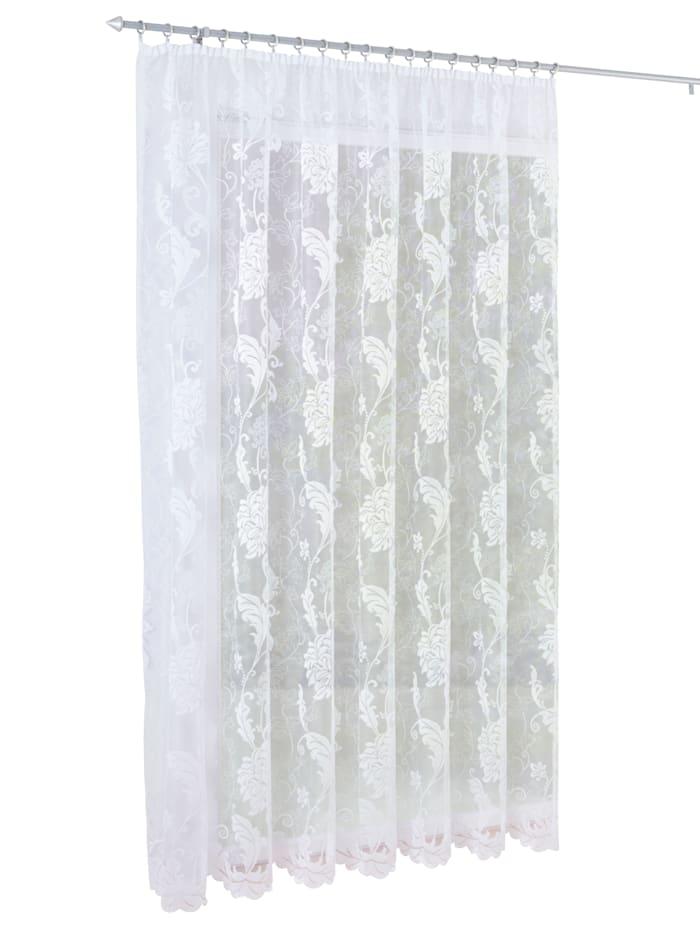 Webschatz Gardin -Ornament blad-, hvit