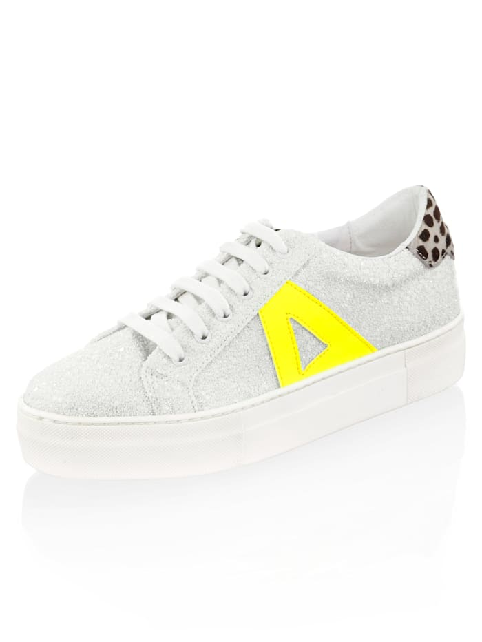 Alba Moda Sneaker mit Mini-Pailletten allover, Weiß