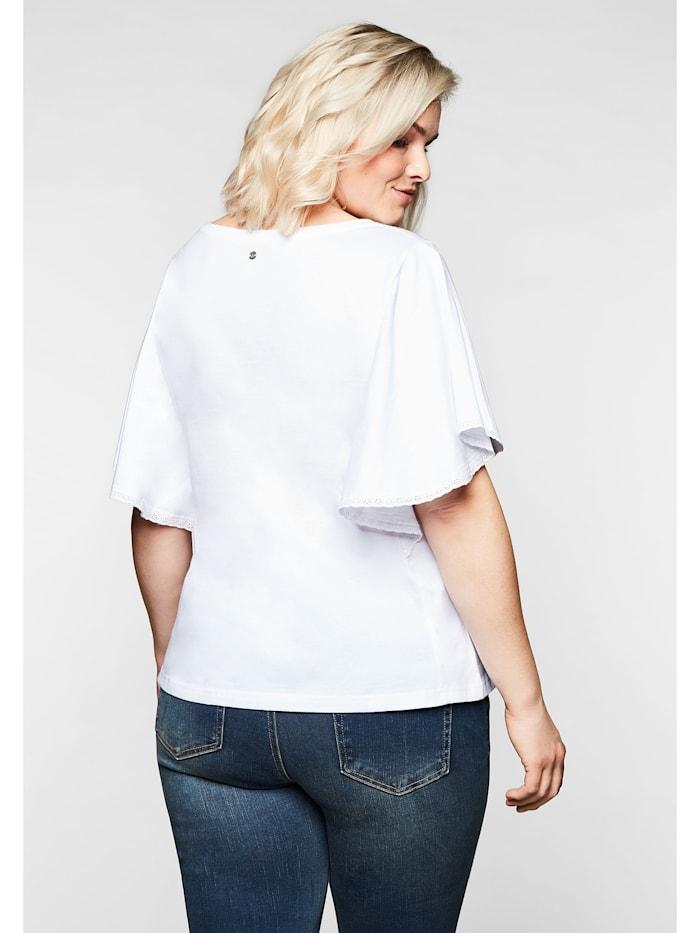 T-Shirt mit Flügelärmeln und Spitze