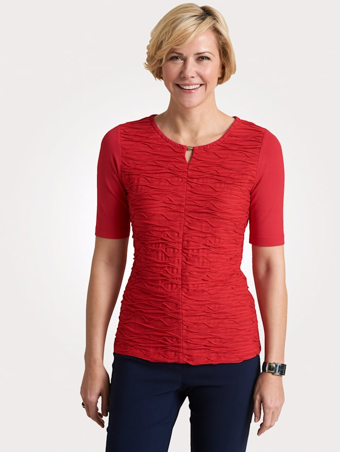 Rabe T-shirt à structure ondulée, Rouge