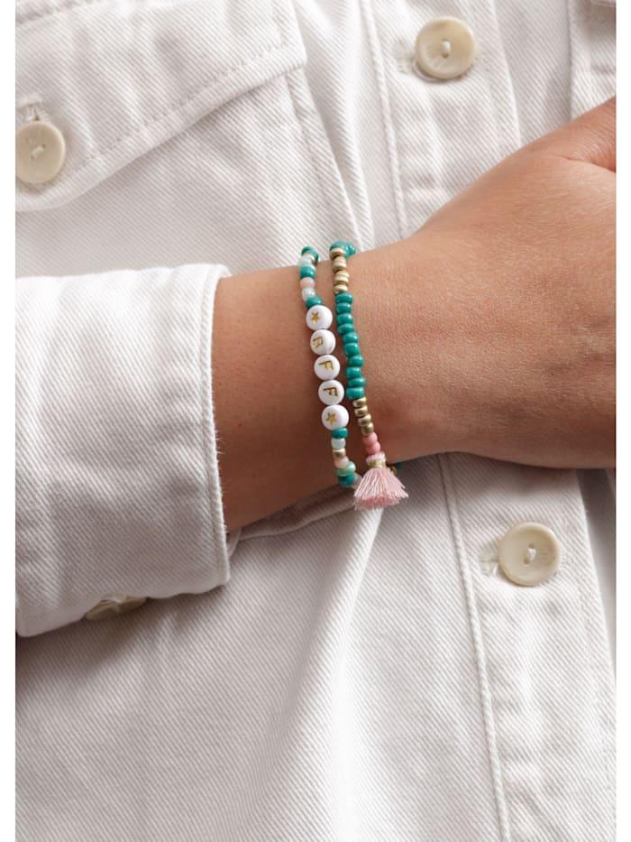 Handgefertigtes Perlenarmband mit Mini-Quaste