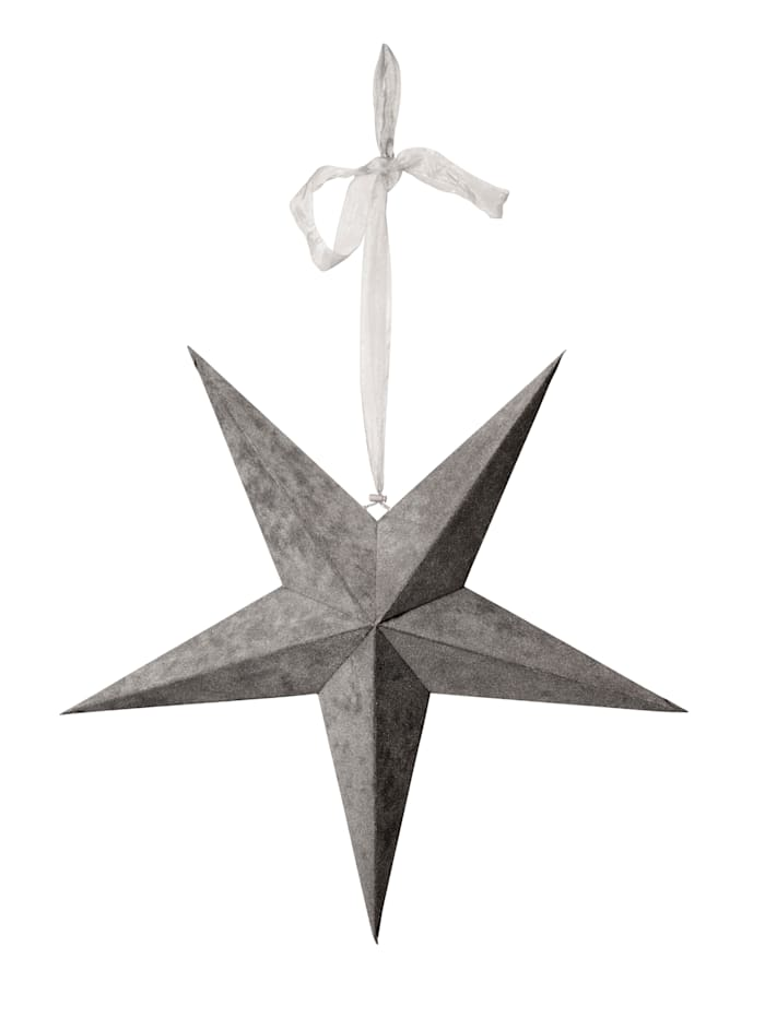 Star LED-Hänge-Papierstern, grau