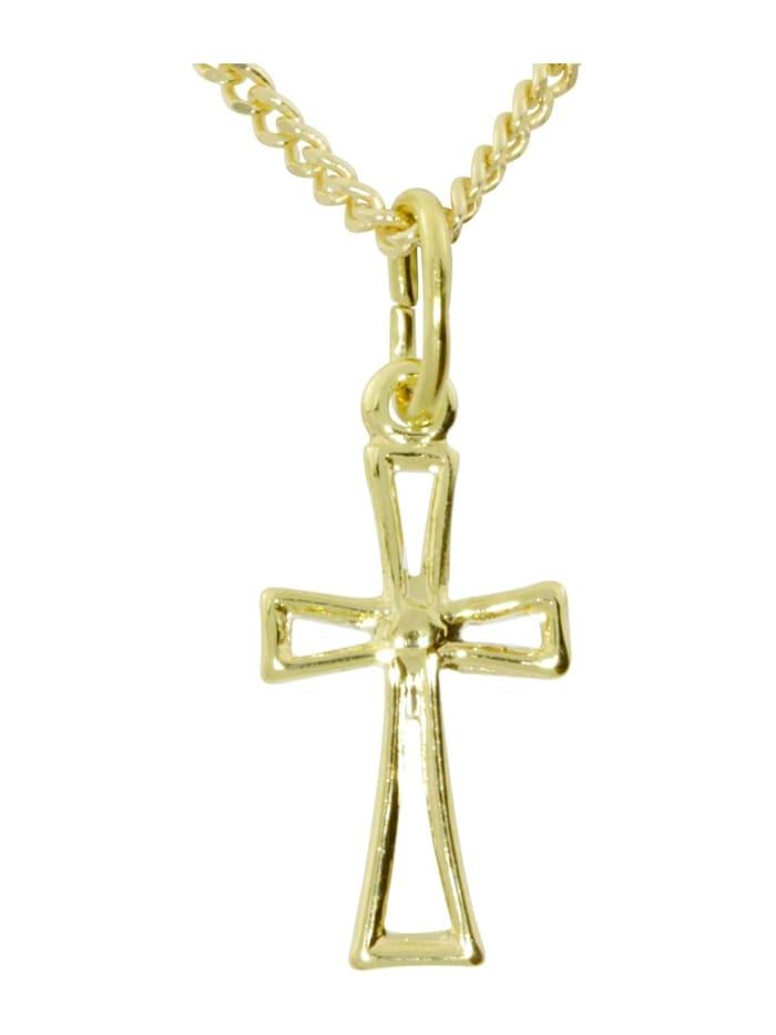 OSTSEE-SCHMUCK Kette mit Anhänger - Kreuz 18x7 - Gold 333/000 -, gold