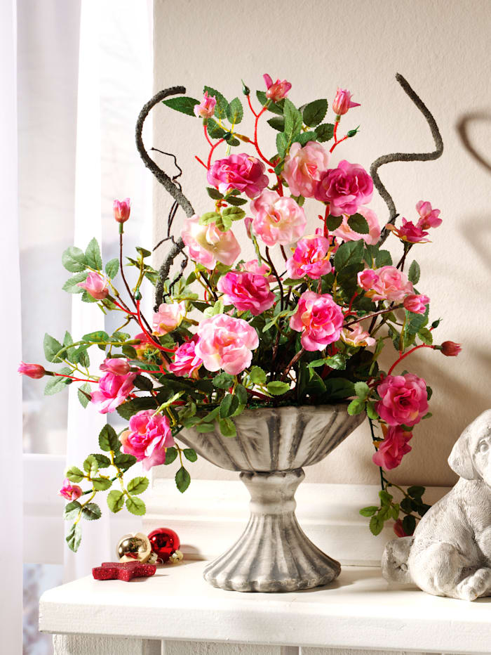 IGEA Wildrosen im Keramiktopf, rosa