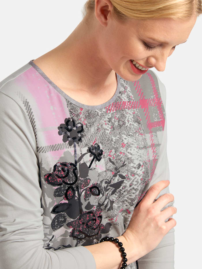 Shirt mit Front-Print und Pailletten