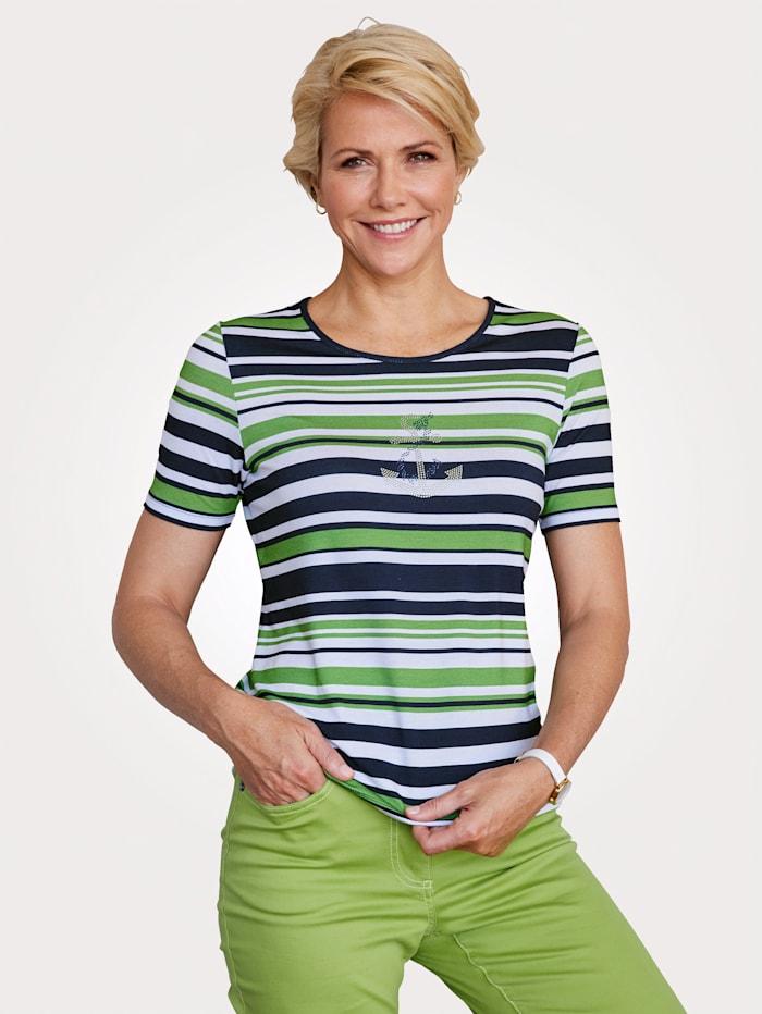 MONA Shirt im kontrastfarbenem Ringeldessin, Grün/Marineblau/Weiß