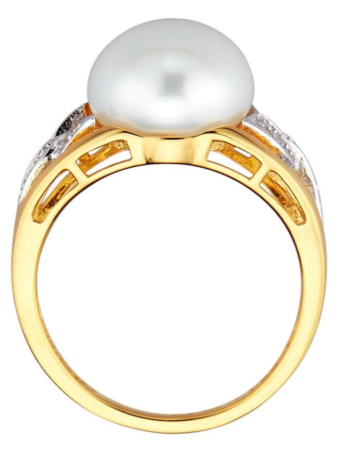 Bague dame avec perles et diamants