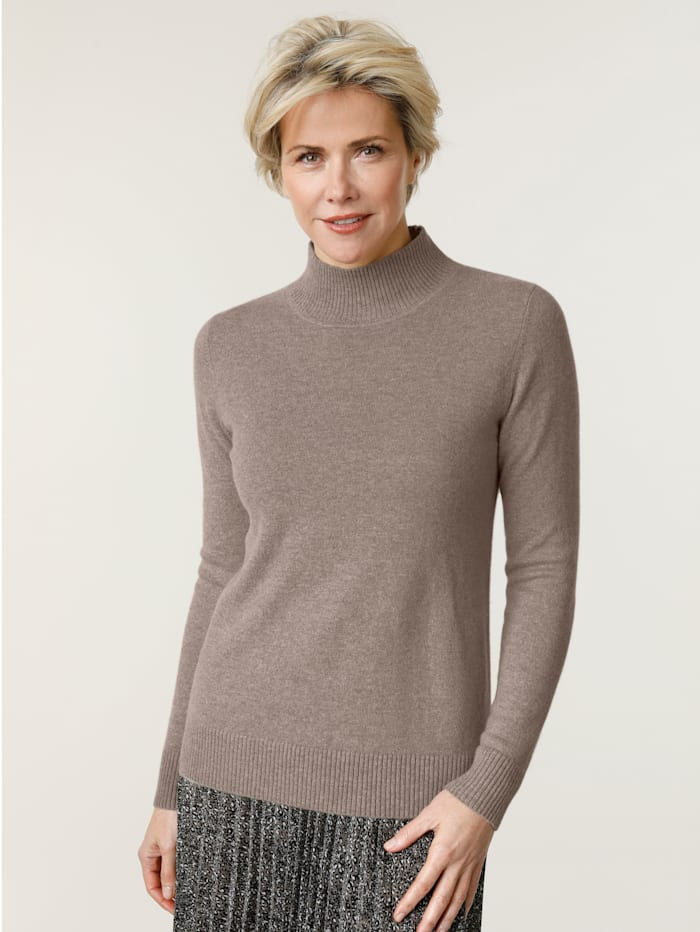 MONA Pull-over en cachemire avec col montant, Taupe
