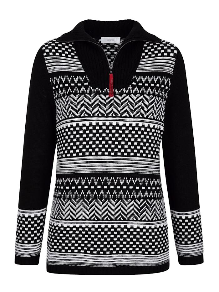 MONA Pullover aus grafischem Jacquard, Schwarz/Weiß