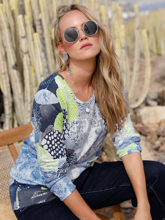MIAMODA Feinstrickshirt mit grafischem Muster, Weiß/Blau