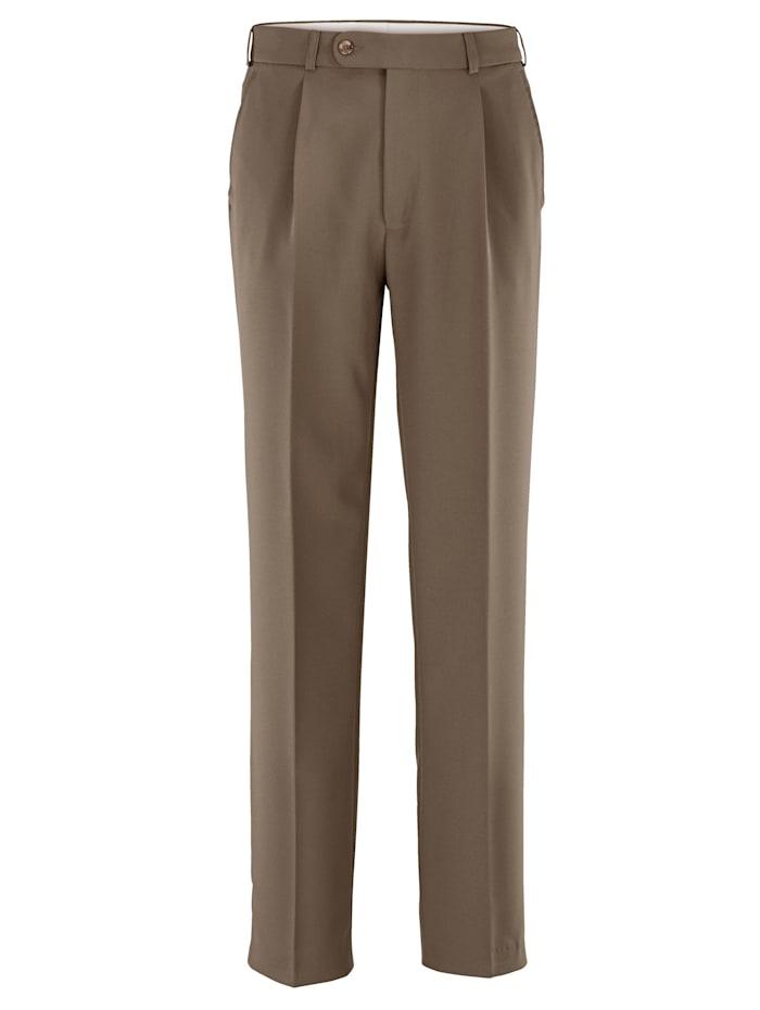 Roger Kent Pantalon à pinces à ceinture extensible, Camel