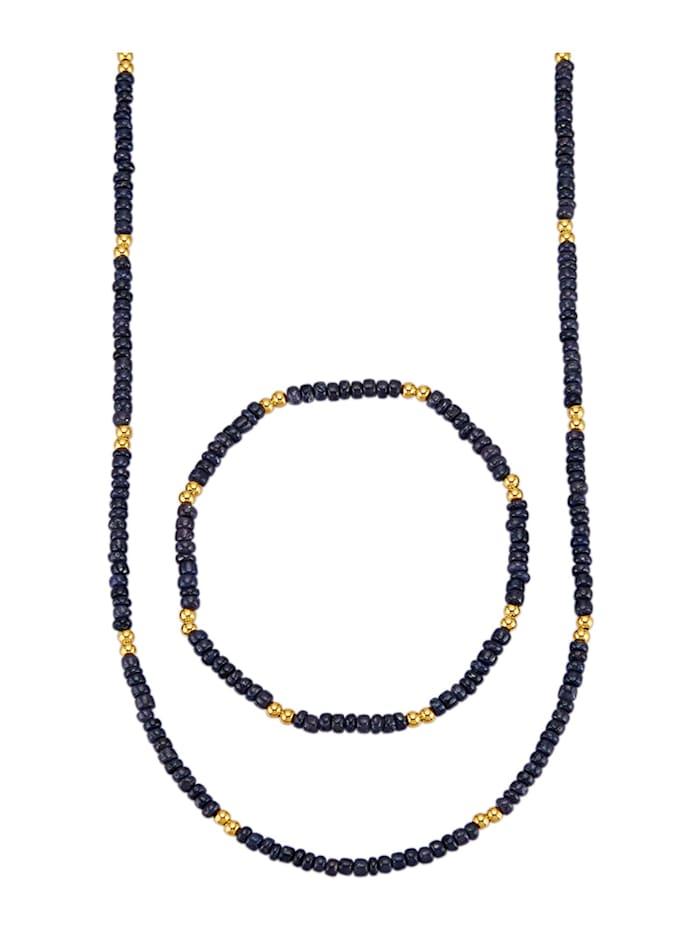 2-delige sieradenset met saffier, Blauw