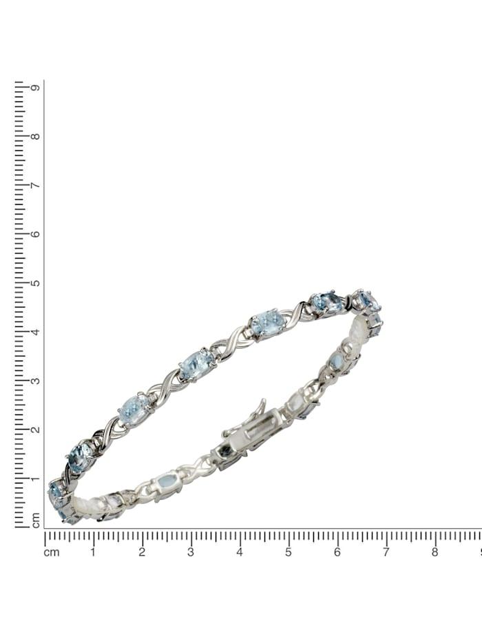 Armband 925/- Sterling Silber Blautopas 925/- Sterling Silber Topas 19cm Rhodiniert