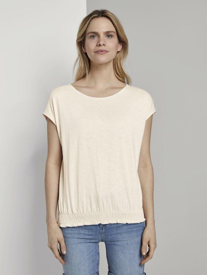 Tom Tailor T-Shirt mit Smocking-Detail am Bund, soft vanilla