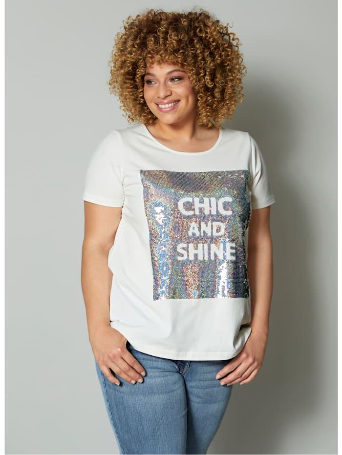 Angel of Style T-shirt Paillettes scintillantes, Blanc cassé
