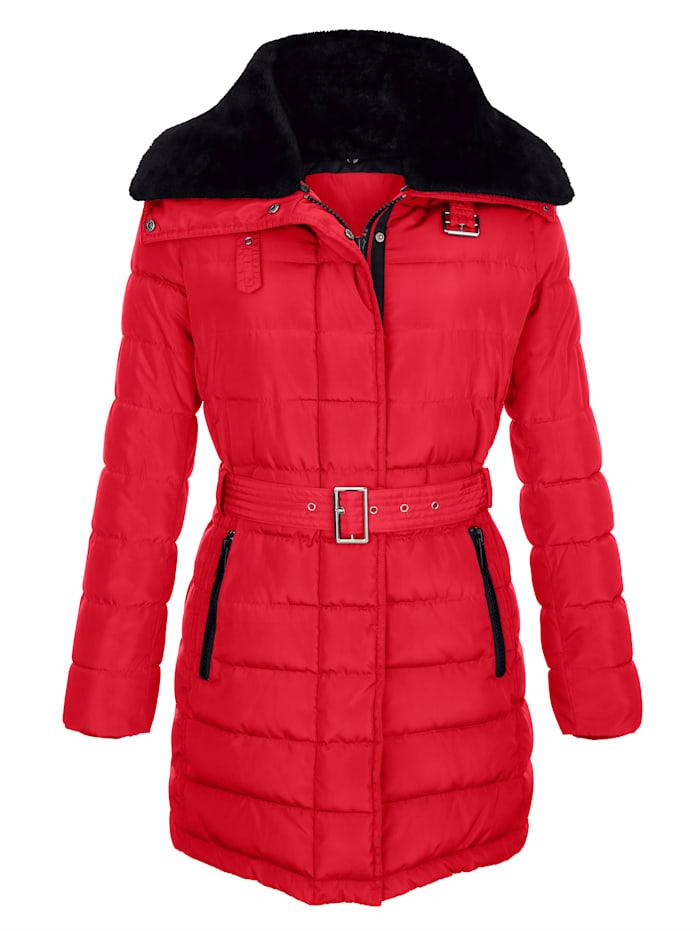 Gewatteerde jas met beleg van imitatiebont