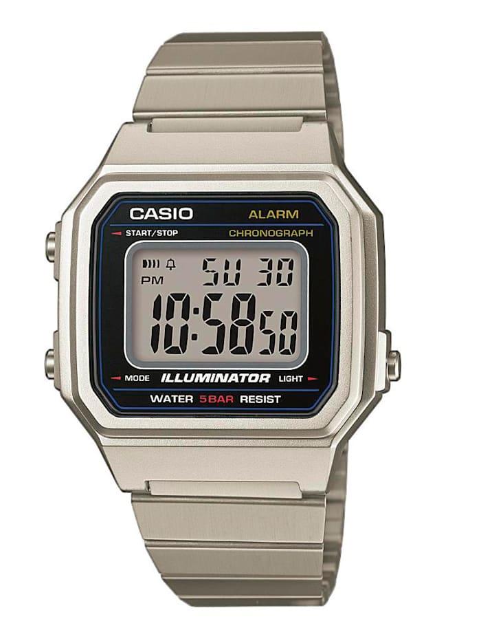 Casio Herrenuhr -Chronograph Collection Retro B650WD-1AEF, Silberfarben
