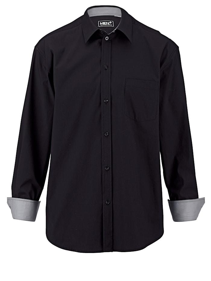 Men Plus Hemd Spezialschnitt, Schwarz