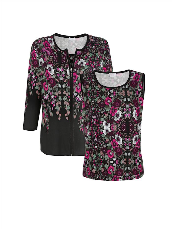 MONA Twinset met bloemenprint, Zwart/Berry/Wit
